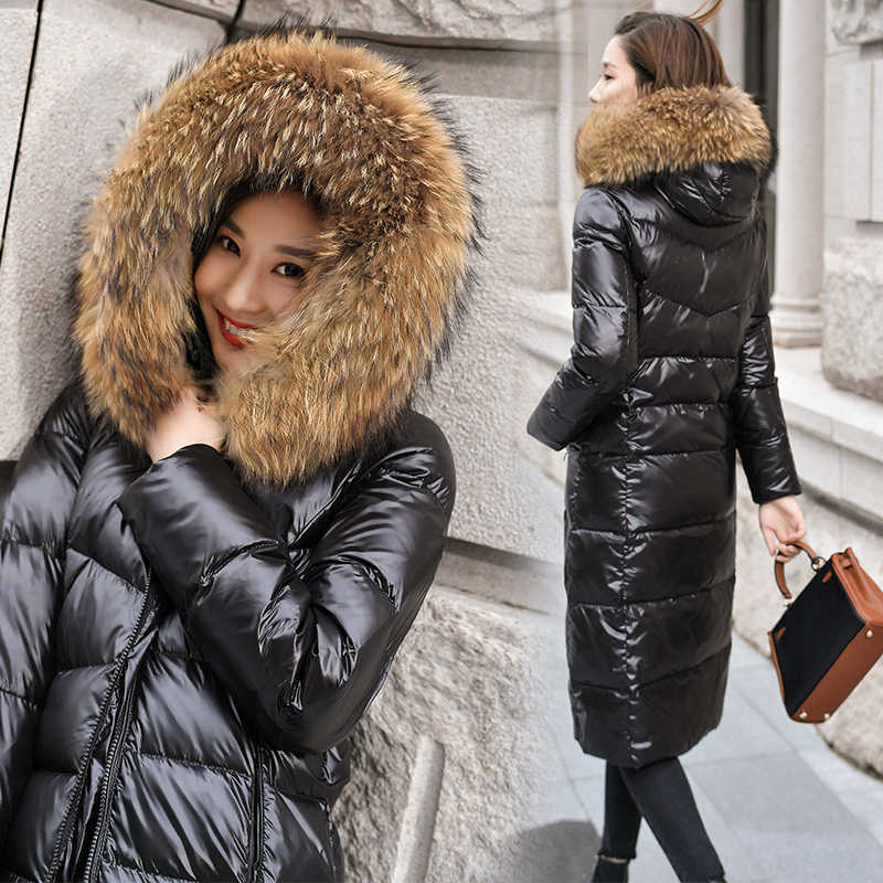 2019 Women Winter down Jacket Coat Real Raccoon Fur Hood Fashion Long Overcoat Thicken Warm Soft Jacket 90% white duck down