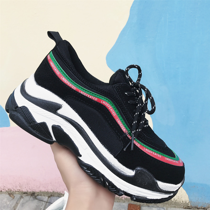 New Women Sneakers Flat Travel Shoes Lace Up Platform Thick Bottom Creepers Female Casual Flats Ladies Shoes botte femme py5
