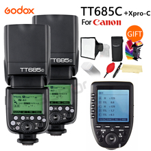 2x Godox TT685C High-Speed Sync External TTL Speedlite Flash + XPRO-C + 15*17cm softbox + Color filters For Canon 1100D 1000D 7D цена 2017
