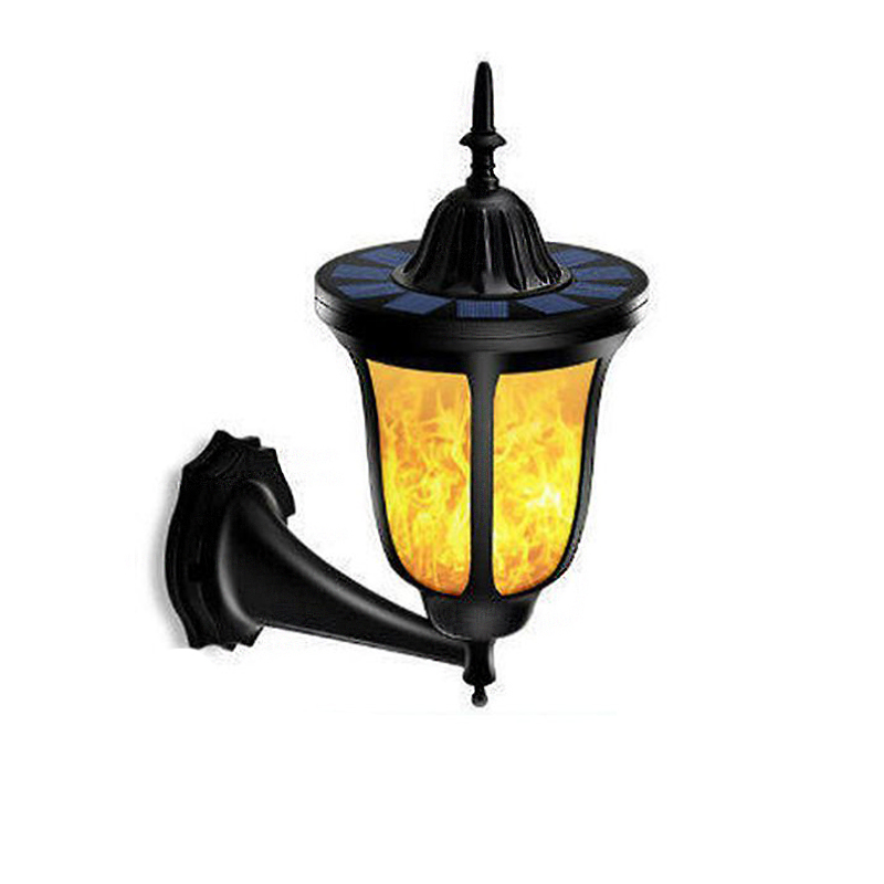 96 LEDs Solar Flame Flickering Wall Lamp Waterproof IP65 LED Torch Light for Garden Coutryard Corridor Decor New Version