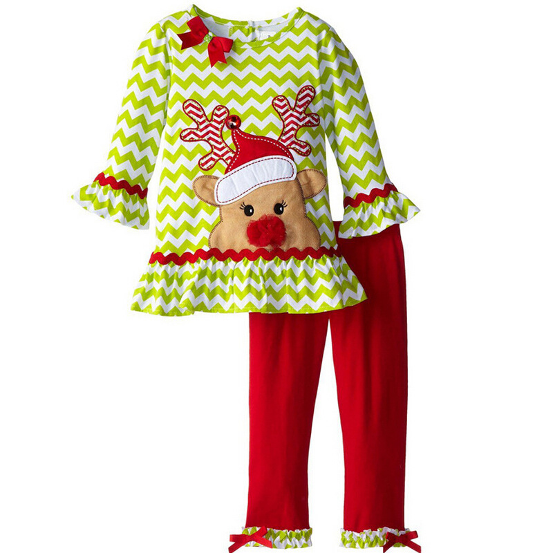 Fashion Cotton White and Green Striped Ruffle Top + Red Icing Ruffle Pants Kid Pajamas Toddler Girls Christmas Clothes Set