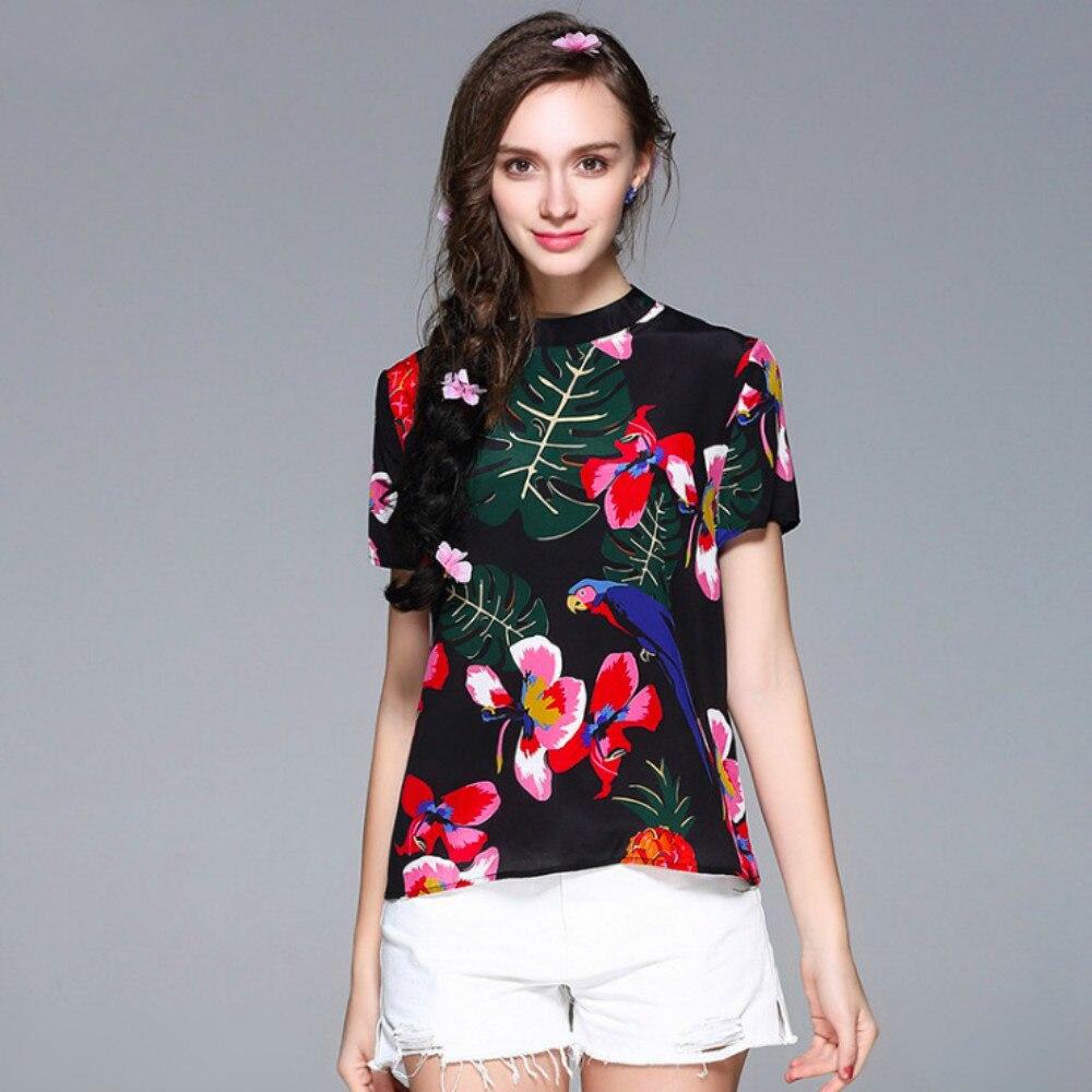 Shirt design trends 2017 - New Women S 100 Silk Tops T Shirts Designer Women Black Printed T Shirt 2017 Summer Feminine Top High Quality Tee Fashion Trend
