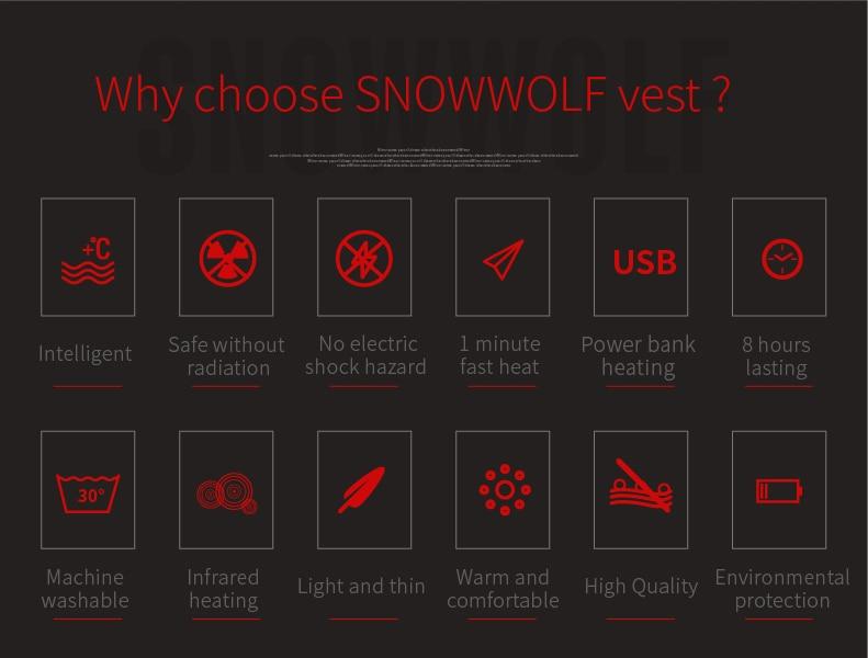 Snowwolf 2019 homens inverno aquecido colete usb