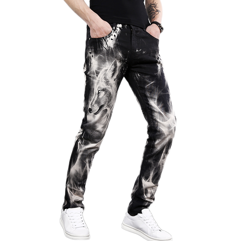 Men's Fashion Wolf Printed Denim Jeans New Spring Summer Slim Black Painted Straight Pants Cool Streetwear Male Long Trousers