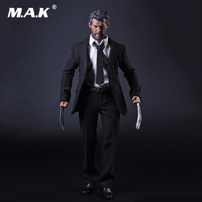 1/6 Scale Wolverine Logan Clothes Set Black Suit & leather Shoes Claws for 12 Inches Action Figures Accessories Models 1 6 scale superwoman head sculpt and clothes models for 12 inches action figures dolls accessories