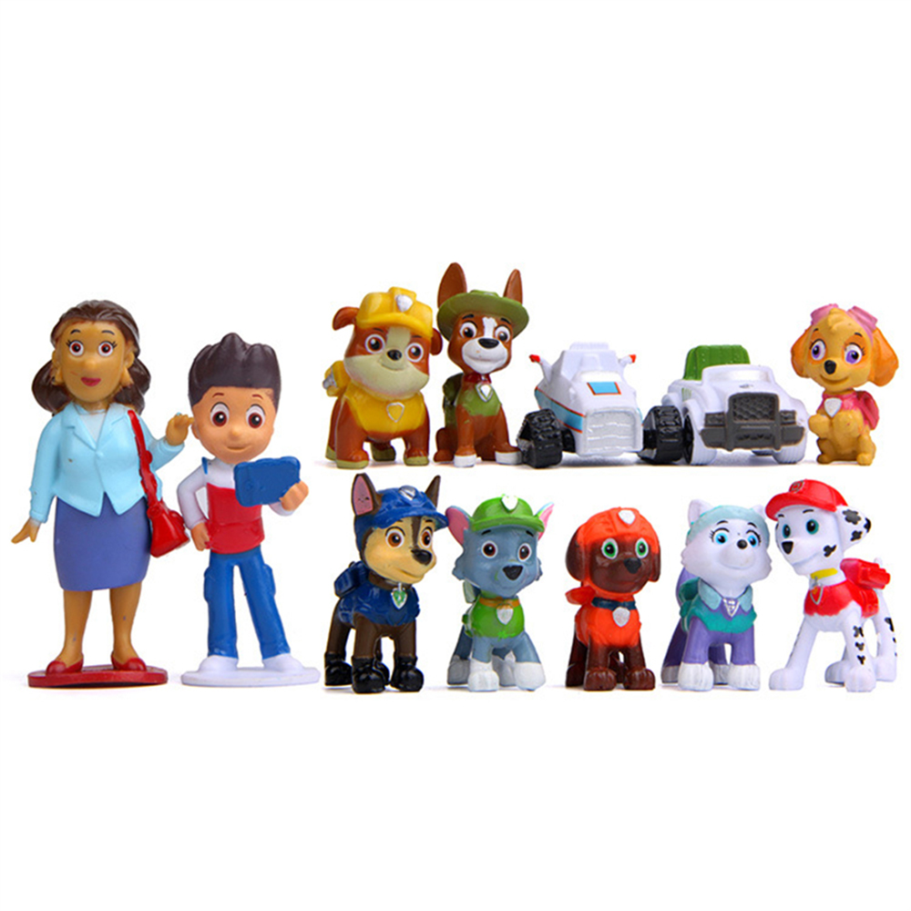 12Pcs/set Paw Patrol Rescue Dog Toy Ryder Everest Tracker Anime Action Figure Model Cake Decoration Toy Child Birthday Xmas Gift