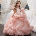 2017 sweet rosa azul roxo vestidos sheer lace backless babados da menina de flor crianças vestido de festa para vestidos de comunhão com arco