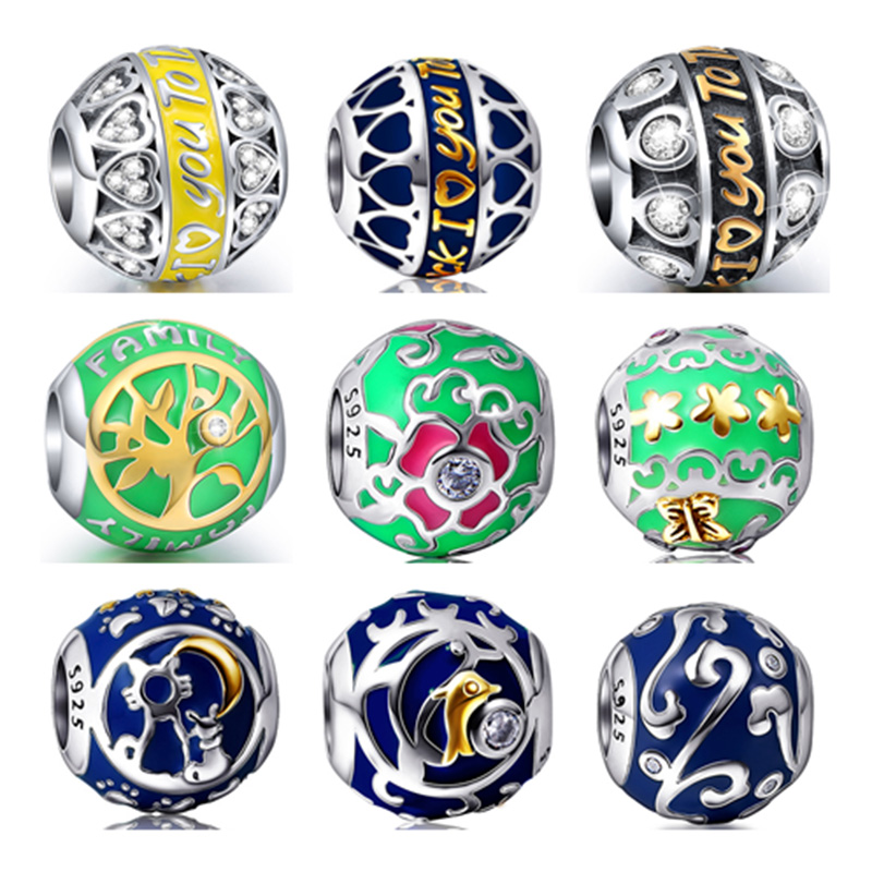 2017 Summer Collection 925 Sterling Silver I LOVE YOU Flower Shining With Enamel Charms Beads fit Authentic pandora Bracelets