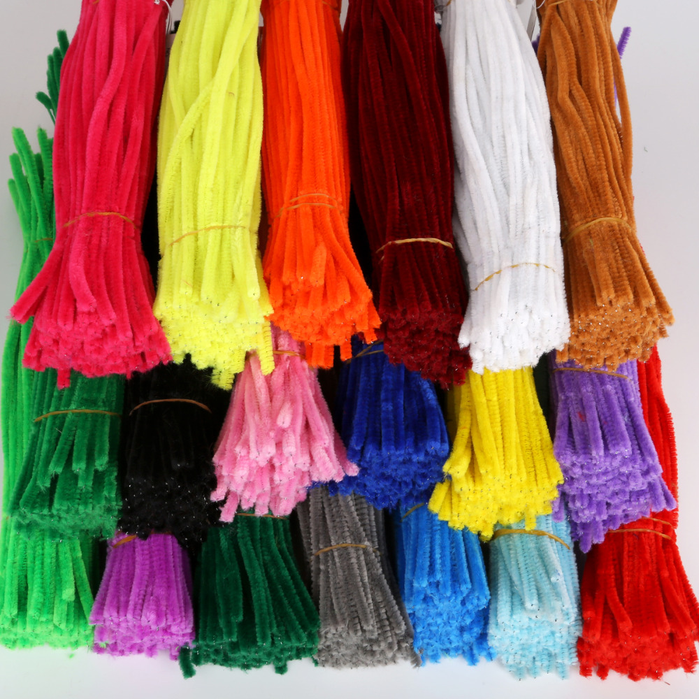 100pcs 30cm Chenille Stems Twist Wire Stems Pipe Cleaners Kids Educational Toys Handmade Chenille DIY Craft Supplies