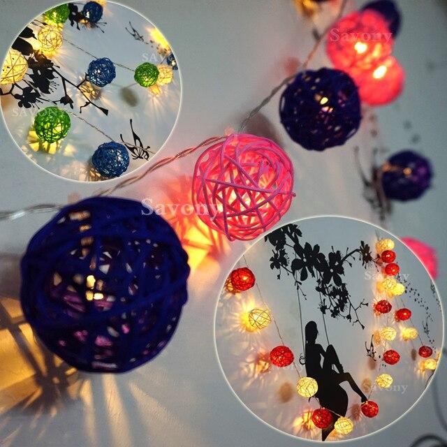 3 m 20 Ampoules Sepak Takraw Rotin Boules LED Cordes Garland lumières Luminarias Fête De Noël De Mariage Décoration AC110v ~ AC220v