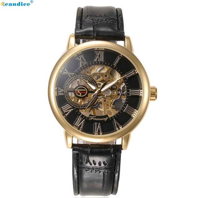 Milky Luxury Mens Steampunk Skeleton Stainless Steel Automatic Mechanical Wrist Watch Reloj  DEC19
