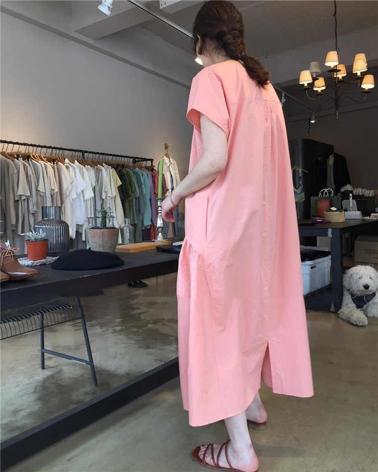 SuperAen корейский стиль женское платье хлопок сплошной цвет повседневное женское платье Лето Новинка 2019 Мода дикая женская одежда