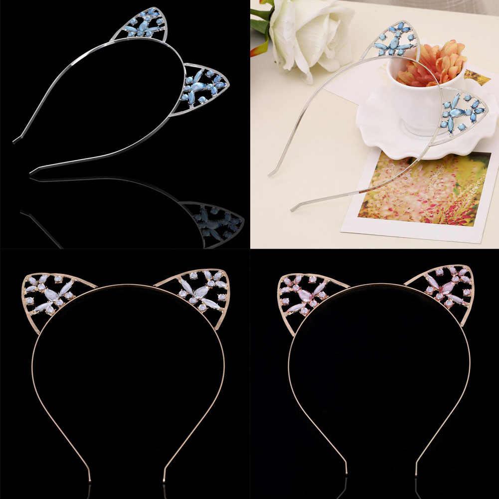 Cô gái Mèo Tai Hairband Stylish Phụ Nữ Rhinestone Headband Tóc Ban Nhạc Phụ Kiện Mũ Nón Phim Hoạt Hình Tóc Hoop