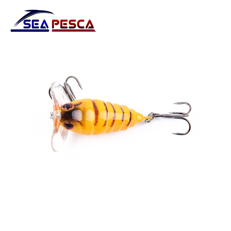 1Pcs 4cm 4.2g Perch Insect Bait Fishing Lure Treble Barb Hook Fishing Tackle Artificial floating Bait Fishing accessories ZB206 1pcs cicada 6g 4cm perch insect lure bait fishing lure treble barb hooks fishing tackle artificial bait fishing