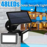 Mising 48LED Dual Head Solar Motion Sensor Spotlights 3Modes Adjustable Waterproof Solar Floodlight for Yard Garden Garage