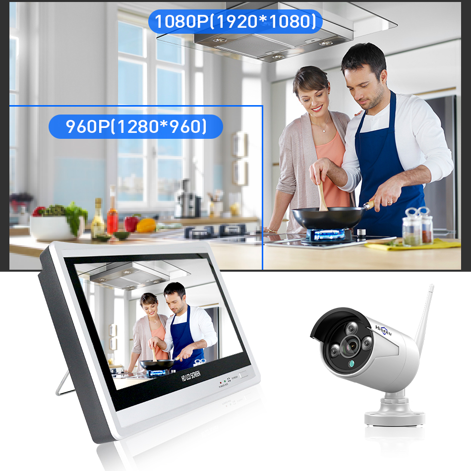 Hiseeu 12'' Displayer 4 stücke 1080P Drahtlose CCTV IP Kamera System 8CH NVR wifi video überwachung home Security System kit