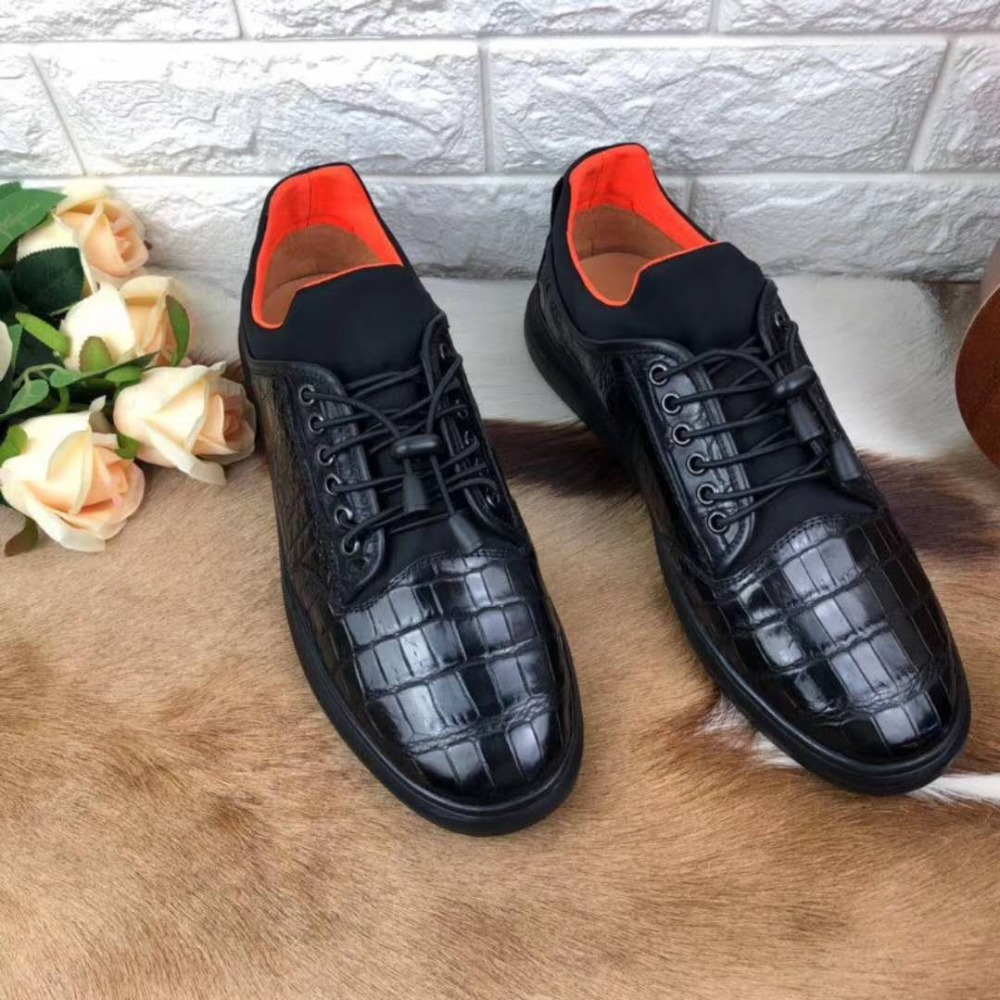 100% Genuine real crocodile belly skin men shoe durable solid crocodile skin men leisure shoe black color hot selling fashion crocodile crocodile cr225r black gold page 8