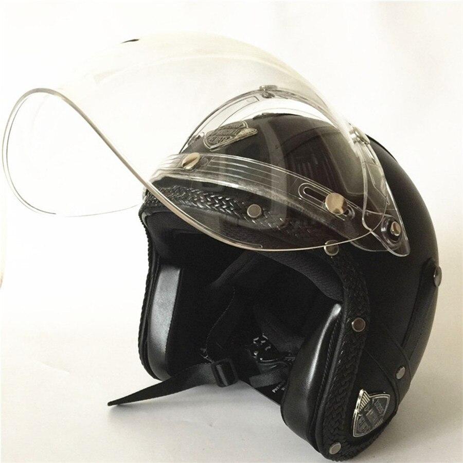 Casque cuir Moto rétro pare-bulle vent Face ouverte casque Harley Moto homme Scooter casques Moto Vespa Xxl