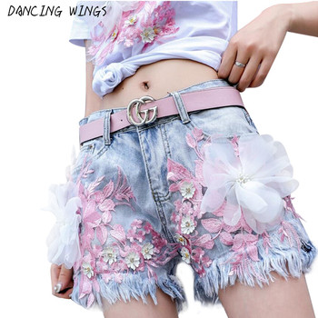 High Quality Washed Sexy Hole Vintage Jeans Shorts Fashion Frayed Denim Shorts 3D Flower Embroidered Denim Women Shorts