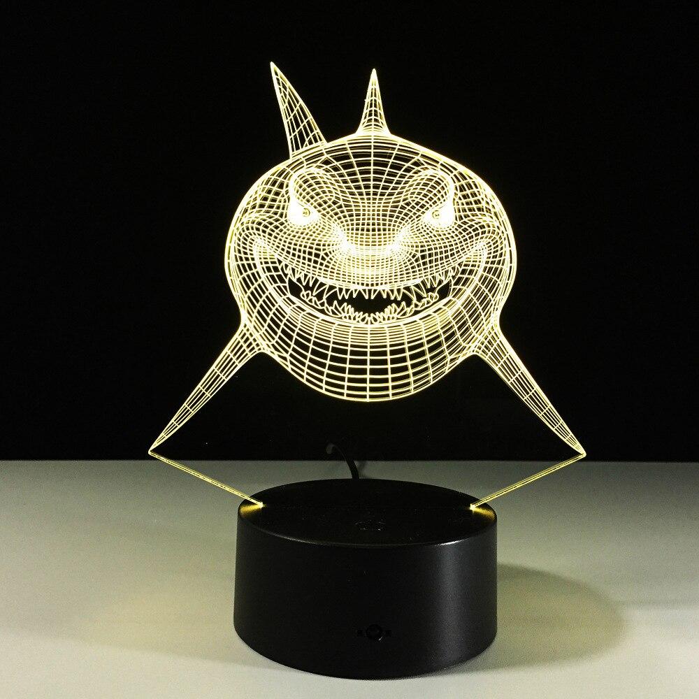 3D wizualne Lampa iluzoryczna Shark przezroczyste akrylowe światło nocne LED fairy Lampa zmiana koloru stół dotykowy bulbing lambas 3d Lampa