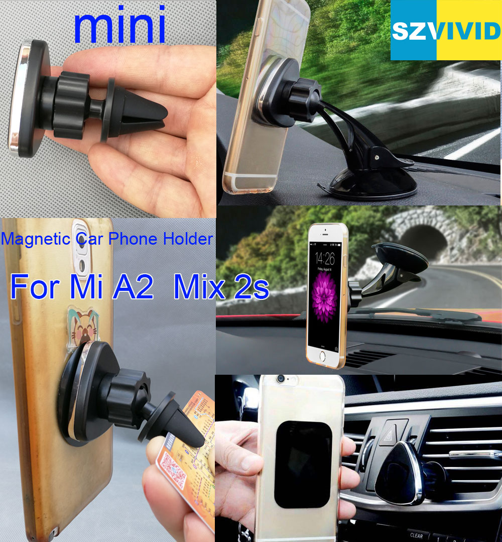 Magnetic Car Phone Holder Air Vent Outlet Mount For Xiaomi Mi A2 A1 MiA2 Mix 2S Mix2S Max 2 Max2 Magnet Dashboard Windshield