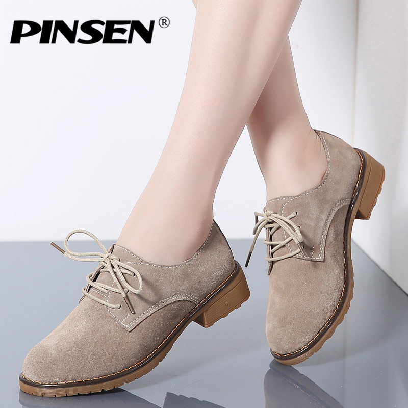PINSEN Fashion 2019 Autumn Women Oxford Shoes   Leather     Suede   Lace-up Shoes Women Flats Round Toe Ladies Boat Shoes Moccasins