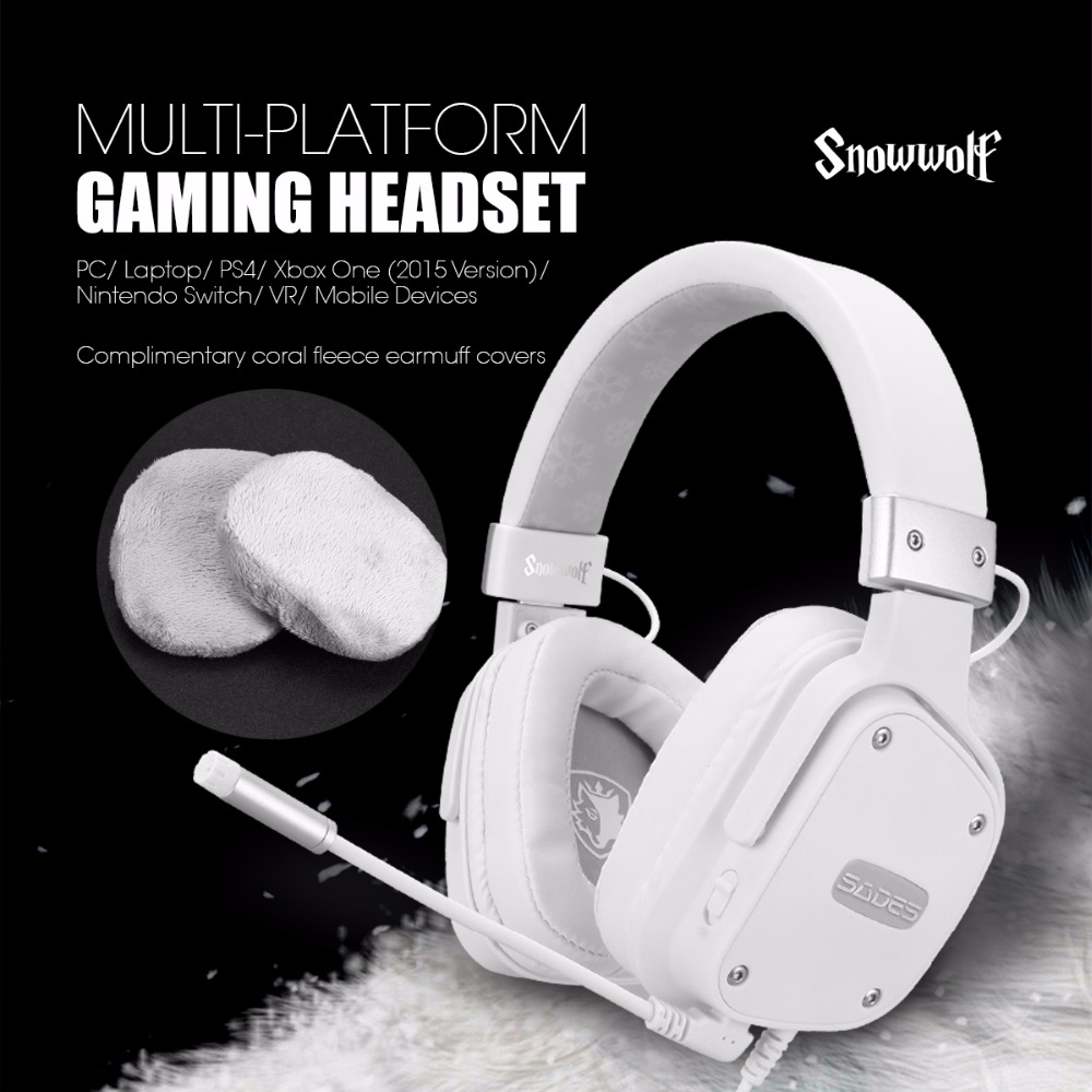 SADES Gaming Headset Snowwolf 3.5mm Jack For PC/laptop/PS4/Xbox One (2015 Version)/Nintendo Switch/VR/Mobile Devices