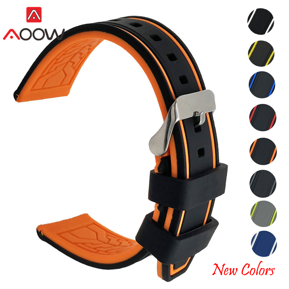Soft Silicone Watchband 20mm 22mm 24mm 26mm Rubber Diving Waterproof Replacement Bracelet Band Strap Watch Accessories