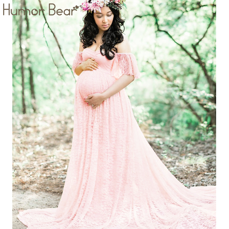 Humor Bear Summer clothes for pregnant women Lace Maternity Dresses Maternity Photography Props Fashion Pregnancy Dress bahemami maternity clothes new dresses for pregnant women fashion doll collar print cotton linen losse casual pregnancy dress