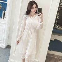 RenYvtil Nightdress Female Summer Lace Dress Home Wear Strap Chest Pad Princess Palace Yoyal Long Women Court Nightgown Arab