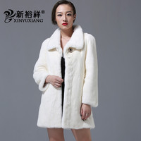 2018 New Mink fur coat women Simple design Long sleeve jackets 100% Natural Real Full Pelt mink fur Winter White gray coats 239H