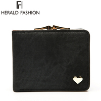 Herald Fashion Heart Short Women S Wallet Clips Jeans Fabric Female Cute Small Solid Clutch Coin
