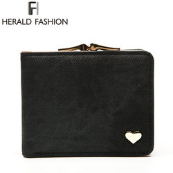 Herald Fashion Heart Short Women's Wallet Clips Jeans Fabric Female Cute Small Solid Clutch Coin Purse Car Holder