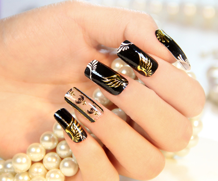 $1 High quality inlaid with gold stickers nail art Punk and Rock 16 ...
