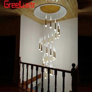 Image 4 - Современные люстры 7W Подвесная лестничная клетка золотой люстра светодиодная люстра люстра led люстры для гостинной   chandelier люстры современные Люминесцентная люстра подвеска на леске