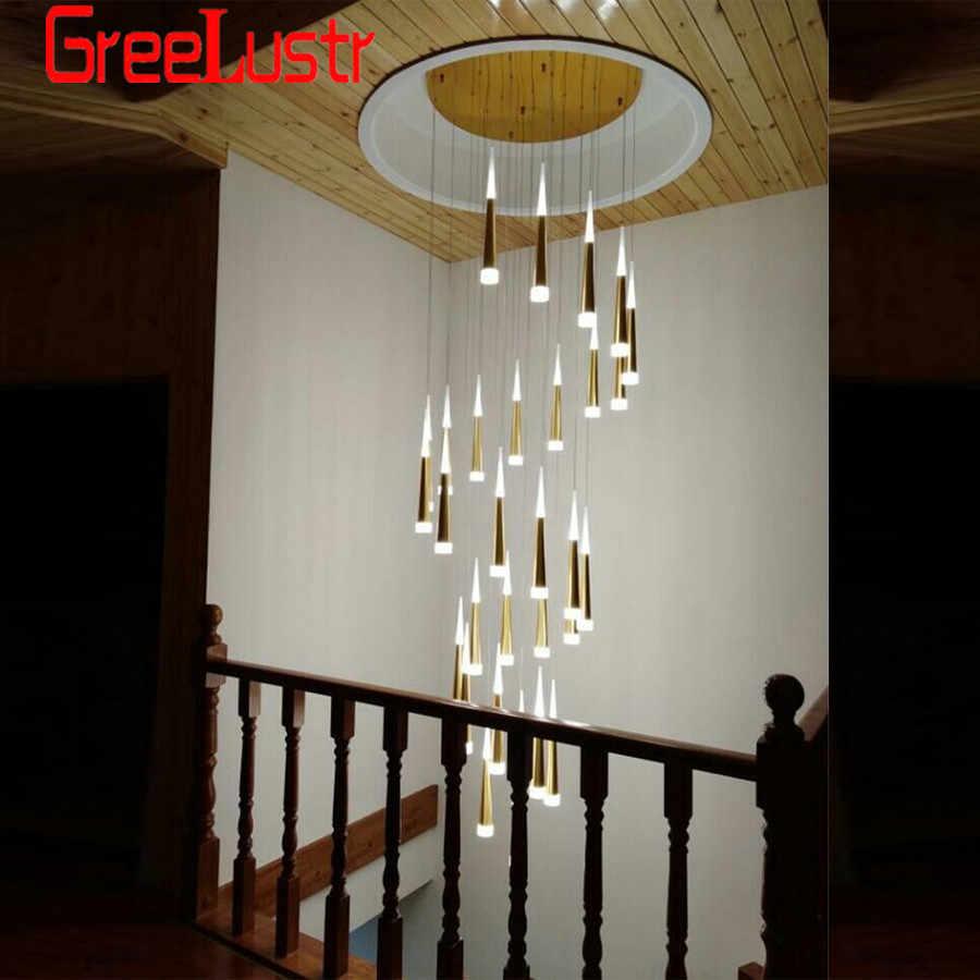Современные люстры 7W Подвесная лестничная клетка золотой люстра светодиодная люстра люстра led люстры для гостинной   chandelier люстры современные Люминесцентная люстра подвеска на леске