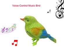 9.5 см Моделирование зондирования птица Голосового Управления Музыка Птица Симпатичные Синг птица игрушки Электронные домашние животные Песни Утром Клетка для птиц украшения