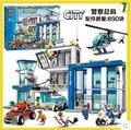 Bela 890 unids 10424 Ciudad Comisaría building blocks Figuras de Acción conjunto helicóptero celda Compatible con 60047 Para El Cabrito regalo