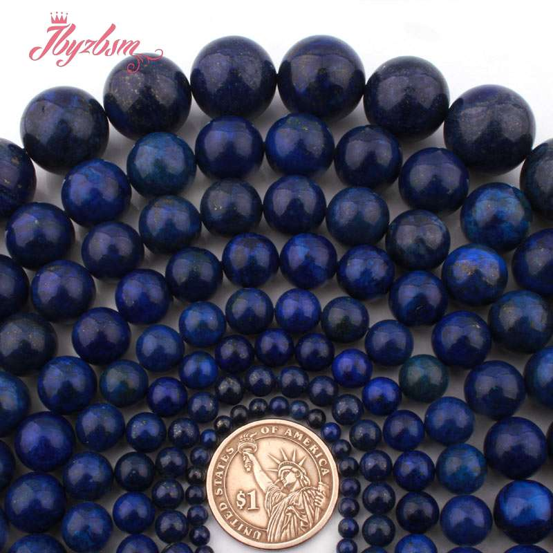 6 8 10 12mm Round Blue Lapis Lazuli Spacer Dyed LooseBead Stone Strand  15