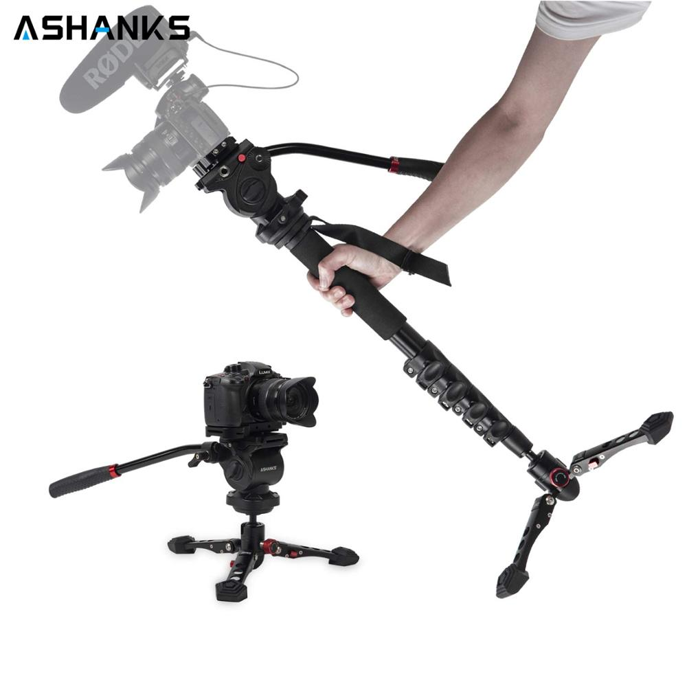 ASHANKS 160cm/63inch Video Camera Monopod Studio Professional 5KG Stand with Tripod Fluid Pan Head & Carry Bag for DSLR ACC