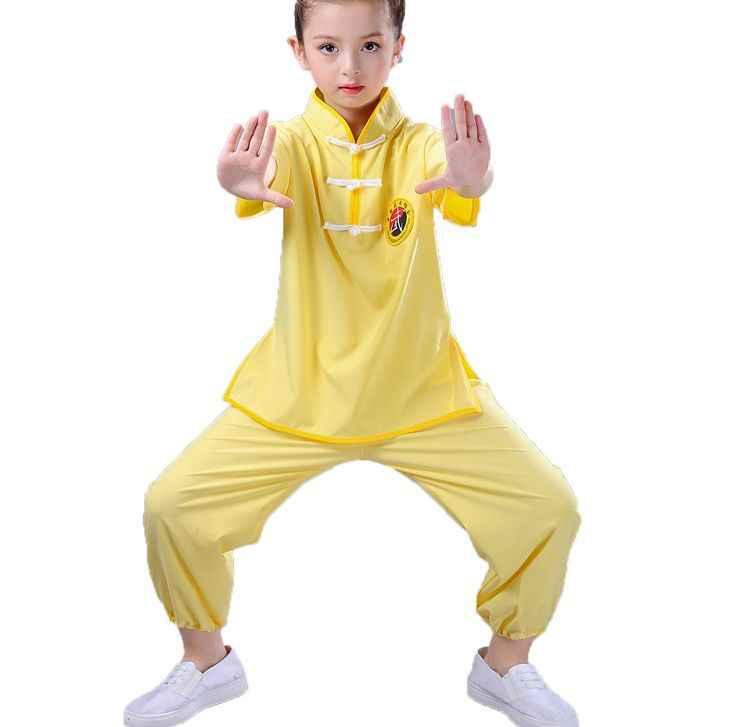 ユニセックス子供カンフー武術の制服子供武道太極拳トレーニングスーツ太地服