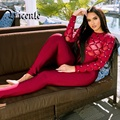 Free Shipping 2017 New Luxe Rivets Embellished Grid Mesh Patchwork Long Sleeves Wholesale Bandage Jumpsuit Women Bodysuit