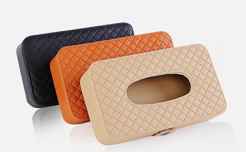 Microfiber Leather Square Tissue Box Holder Rectangular Car Tissue Box Cover Case For Car Seat/Sun Visor/Sunroof Decorative 1