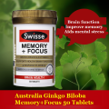 Australia Ginkgo Biloba Tablets Memory+Focus to support brain function improve memory & cognitive function, Aids mental stress