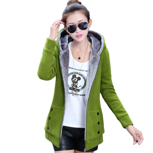 OLGITUM New 2017 Autumn and winter Jackets Cotton Hooded Warm Sportswear Coat Jackets Large size Women Casual Hoodies Coat Tops