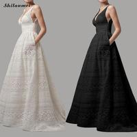 Elegant Lace Long Party Dress Women 2018 Summer Hollow Out White Sleeveless Dress Plus Size Sexy V Neck Backless Dresses 5XL 4XL