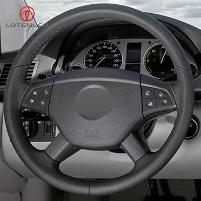 LQTENLEO Black Genuine Leather DIY Hand stitched Car Steering Wheel Cover for Mercedes Benz B200 2009