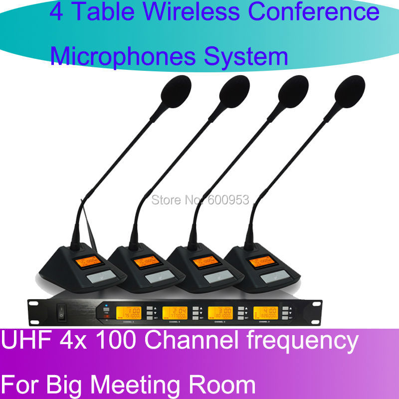 MICWL D400 UHF 4 Gooseneck Table UHF Wireless Conference Microphones digital System For Big Meeting Room oupushi conference system 8 channel gooseneck uhf ppl wireless conference table microphone sound quality ceiling speaker