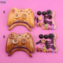 YuXi Wood grain Handle shell Gamepad Case Cover with Full set Button Replacement for Xbox 360 xbox360 Gaming Controller