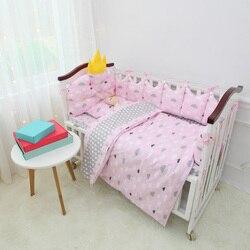 Babybedje Organizer Babybed Bed Bumper Beddengoed Set Jongens Meisjes Baby Wieg Beddengoed Set Katoenen Kussen Dekbedovertrek Sheet 9 stks